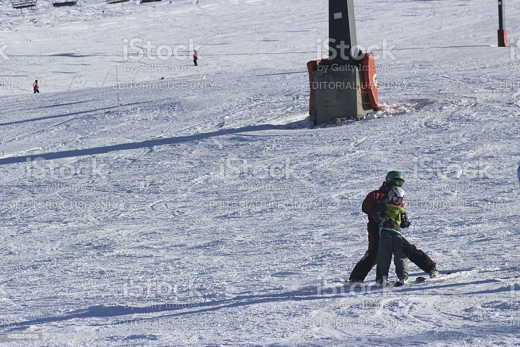 Child learning how to skiing at ski station CERRO CATEDRAL stock photo