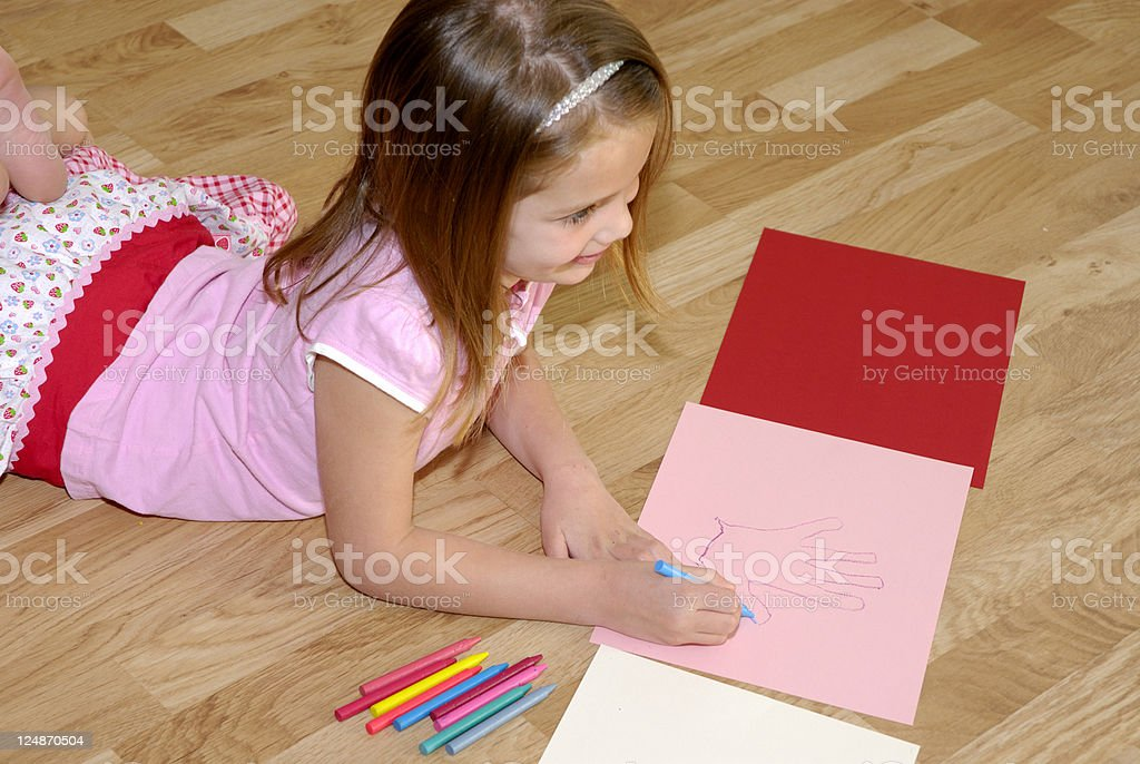 Child Learning To Draw stock photo
