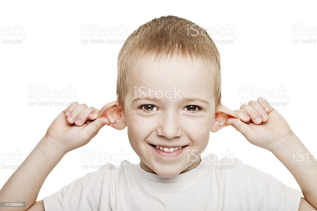 Child listening stock photo