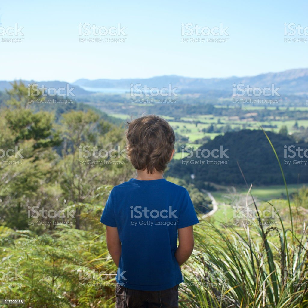 Child looking at View of New Zealand Landscape stock photo