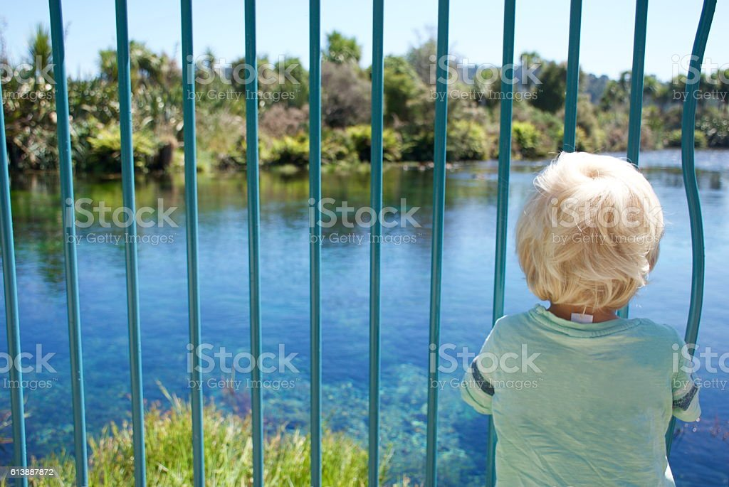 Child Looking at View through Safety Bars stock photo