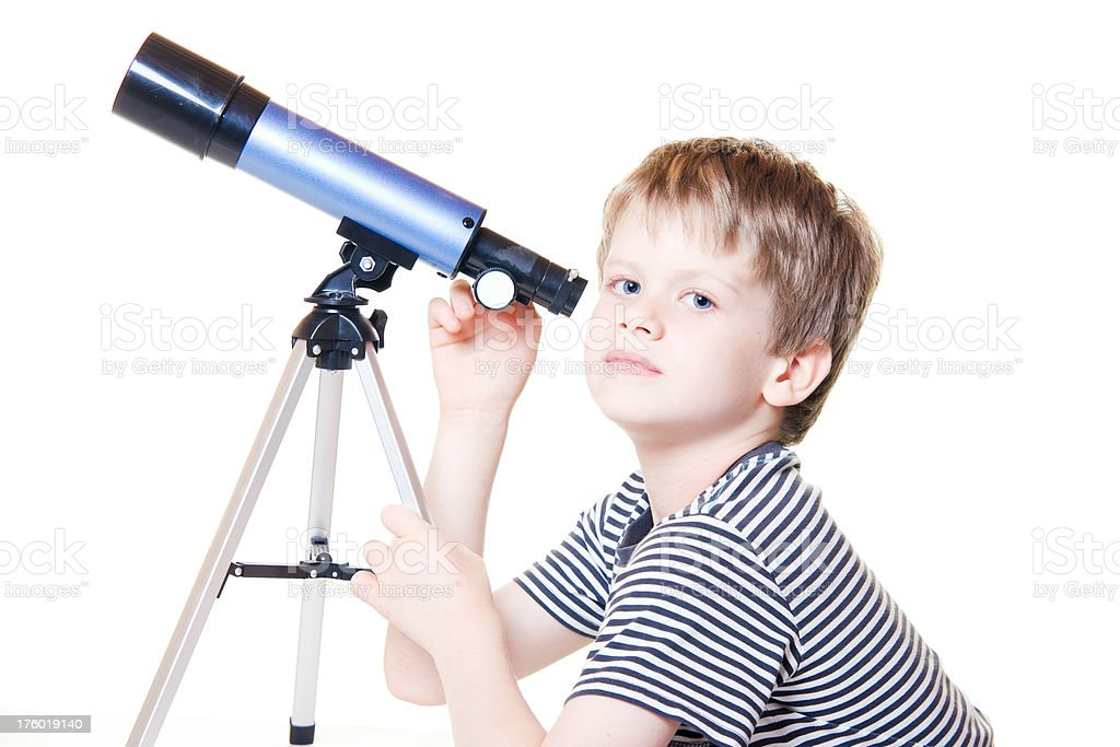 Child Looking With Telescope Star Gazing Little Boy royalty-free stock photo