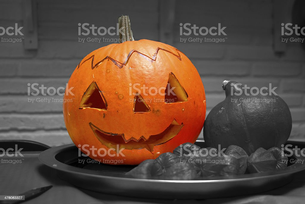 child made halloween pumpkin royalty-free stock photo