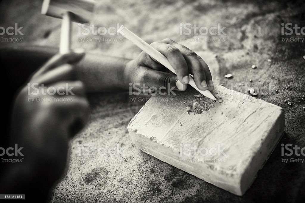 child making a sculpture royalty-free stock photo