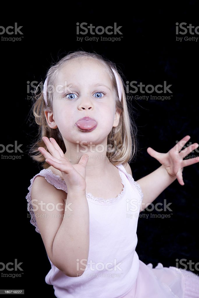 Child Making Funny Silly Face royalty-free stock photo