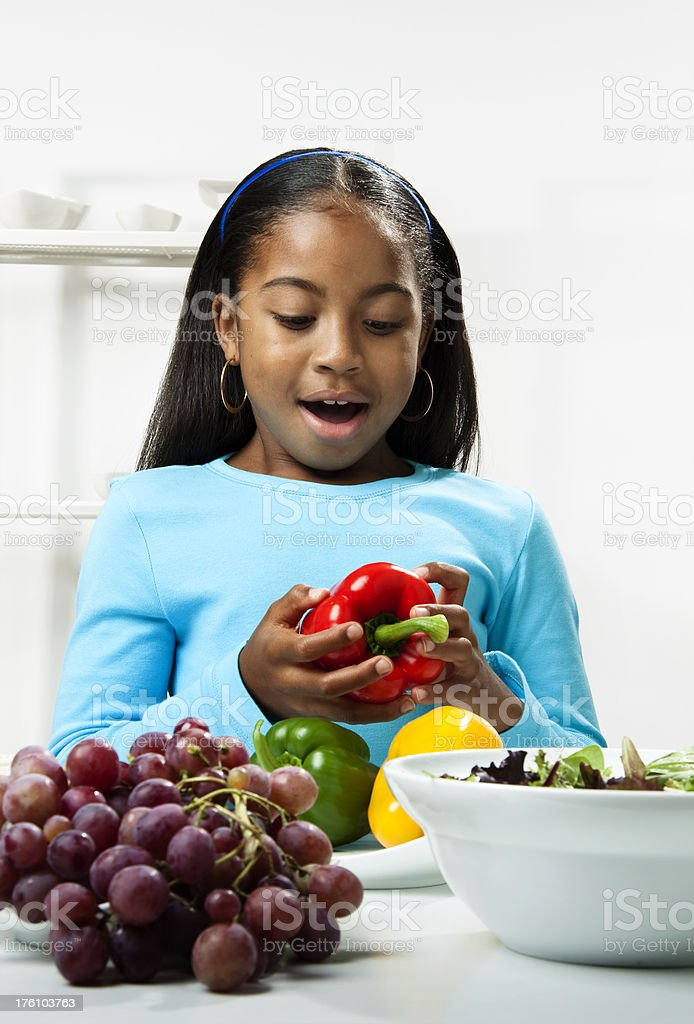 Child making Salad royalty-free stock photo