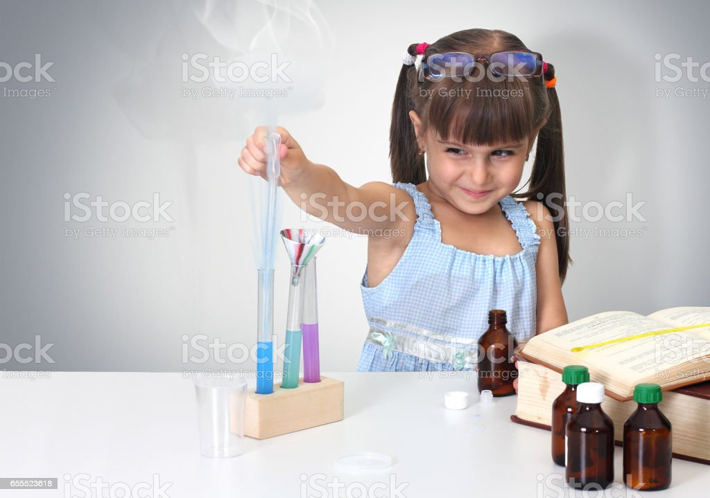child making sciencel test stock photo