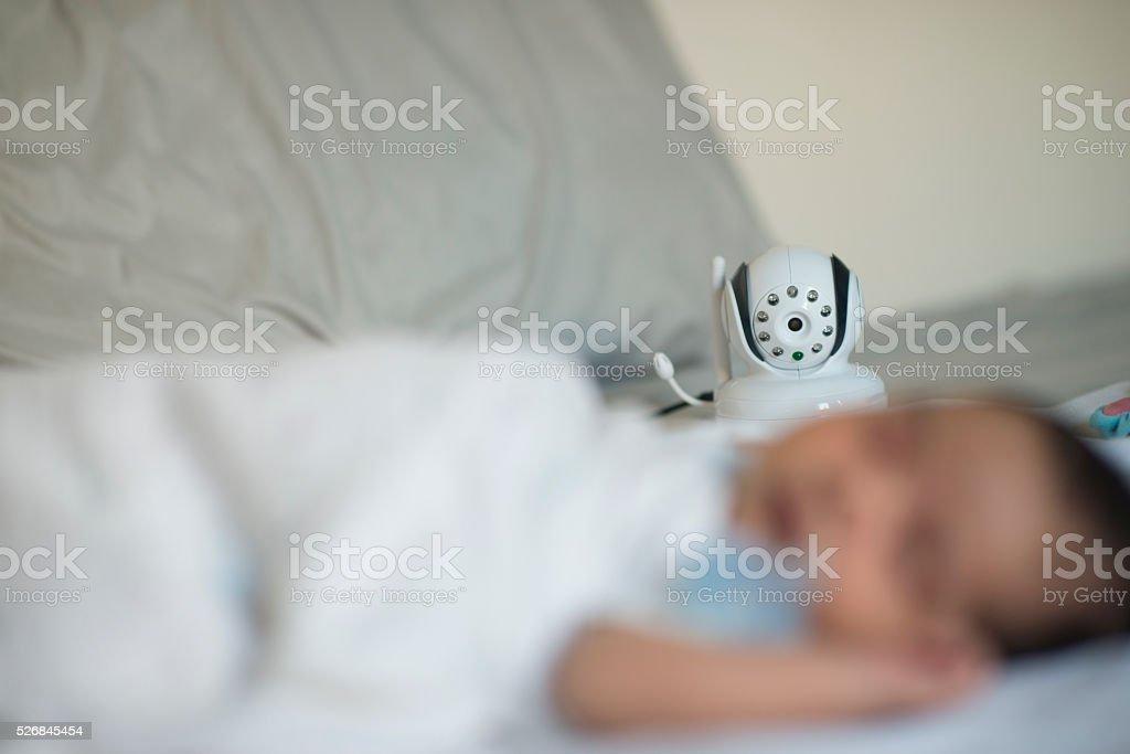 Child monitoring camera stock photo