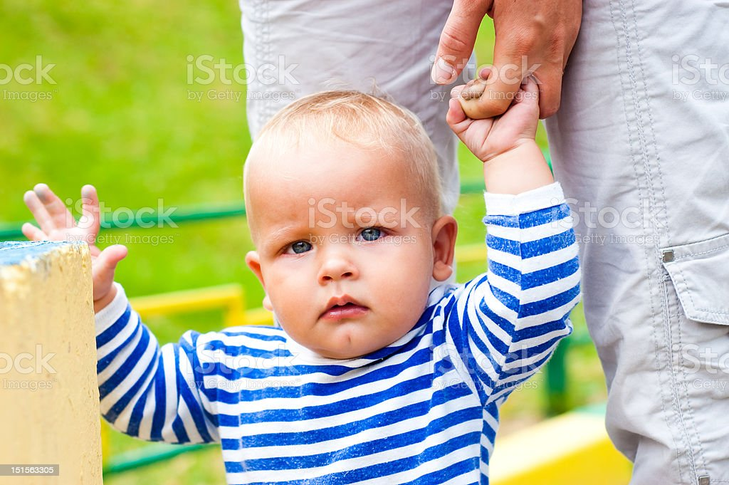 child on a walk royalty-free stock photo