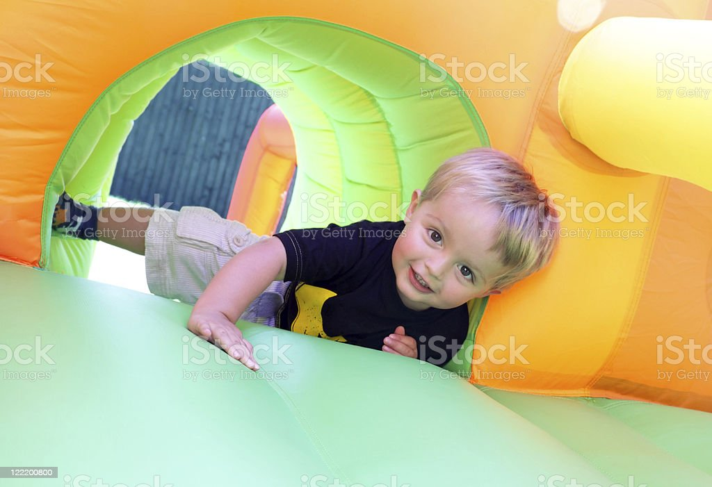 Child on bouncy castle royalty-free stock photo