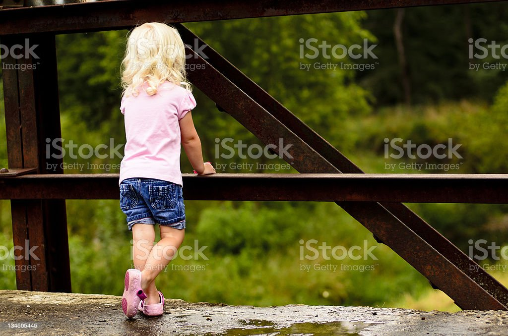 Child on Bridge royalty-free stock photo