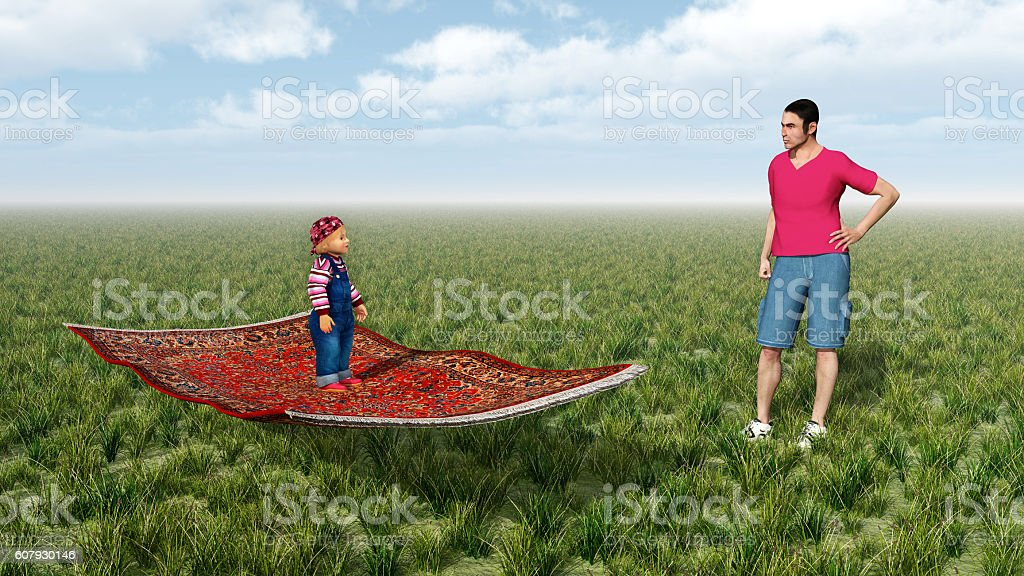 Child on flying carpet and man stock photo