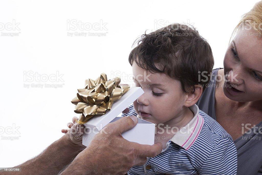 Child Opening Gift Box stock photo