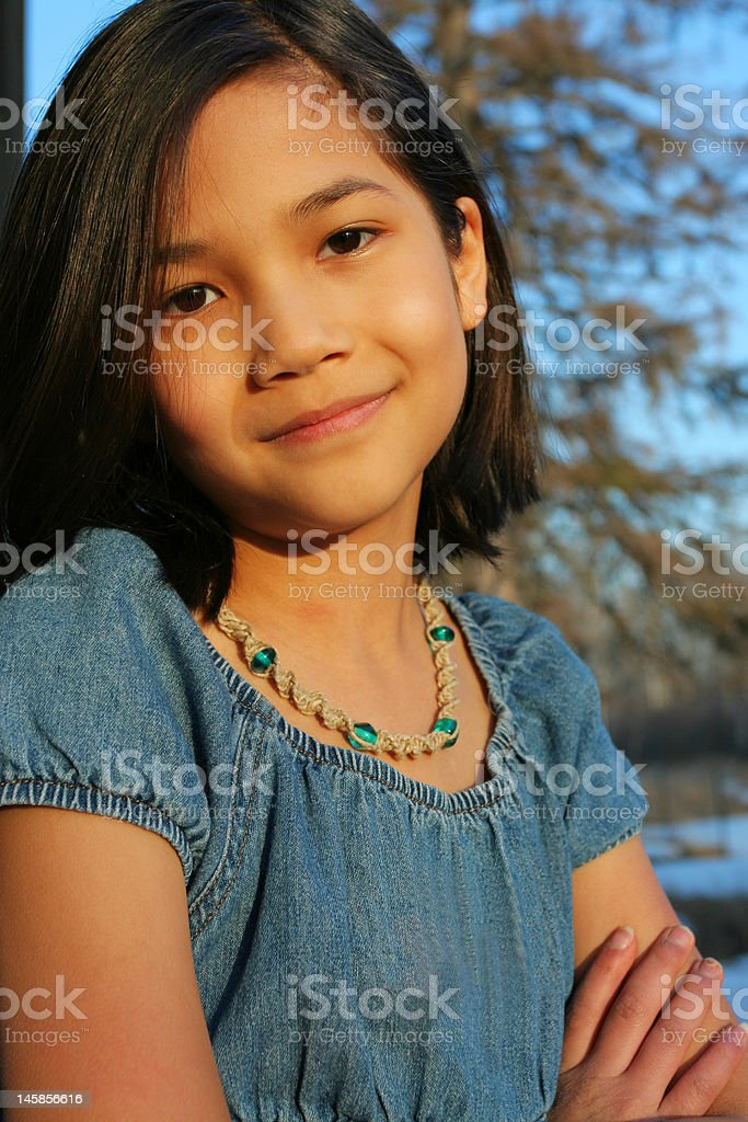 Child outdoors smiling royalty-free stock photo
