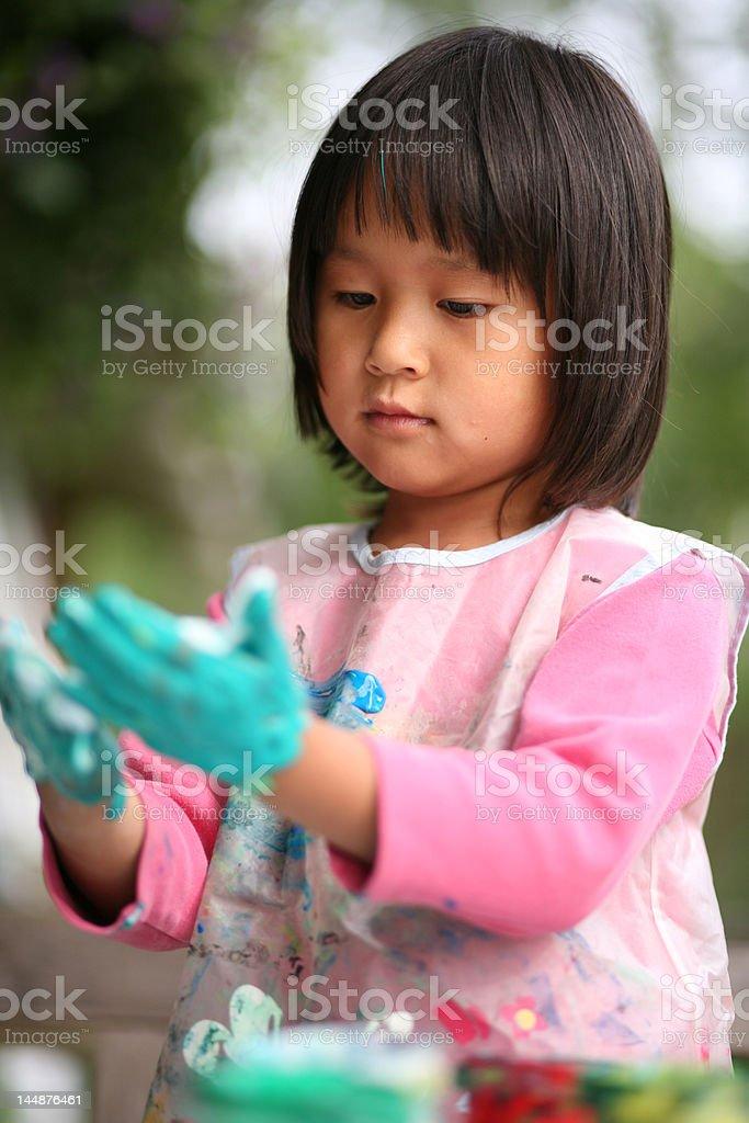 child  & painting job royalty-free stock photo