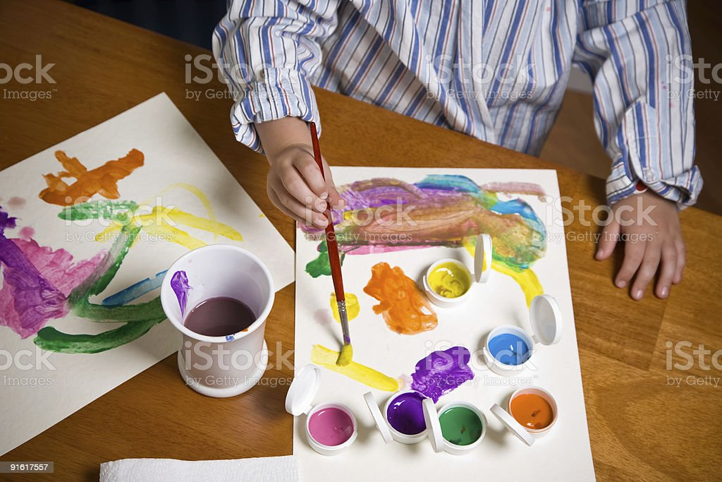 Child Painting With Brush royalty-free stock photo
