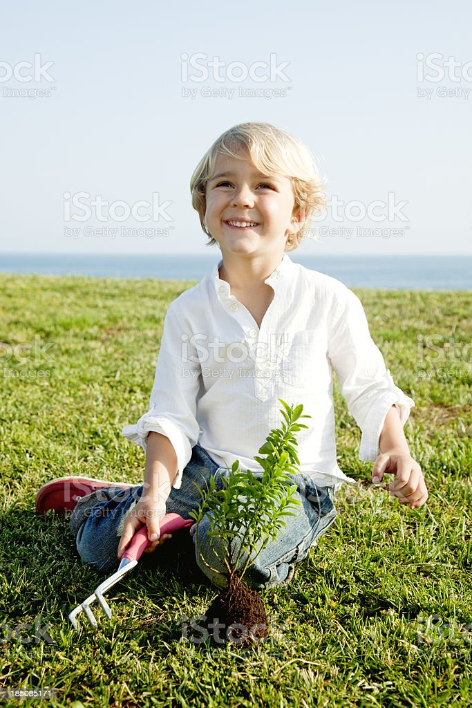 Child planting tree royalty-free stock photo