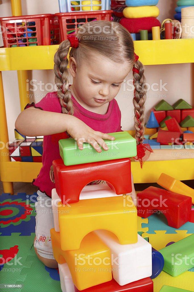 Child playing blocks. stock photo
