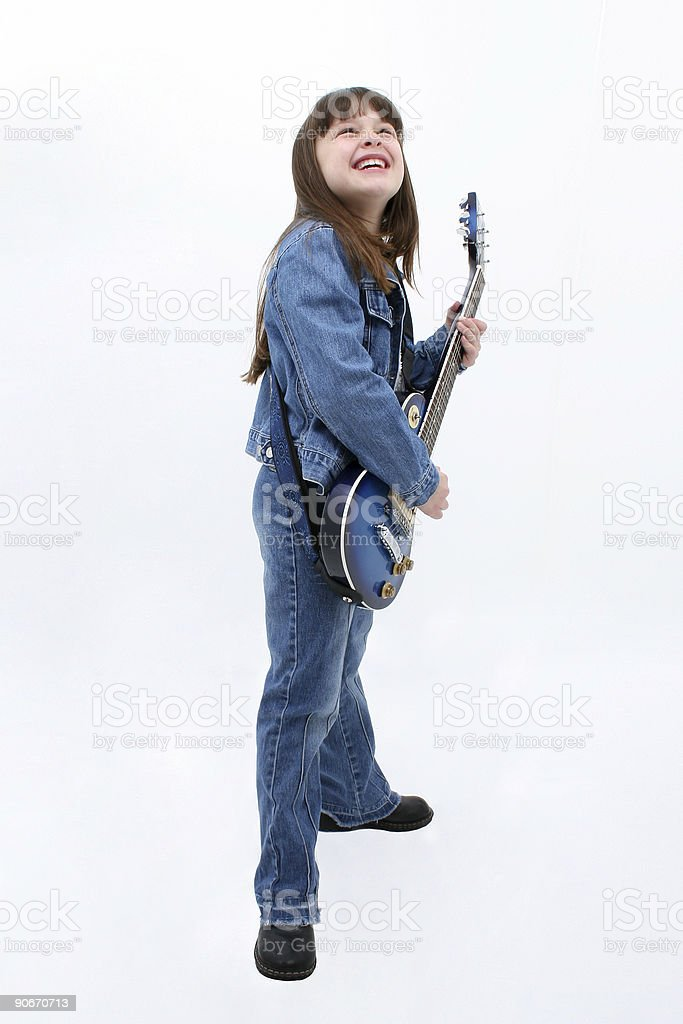 Child Playing Electric Guitar royalty-free stock photo