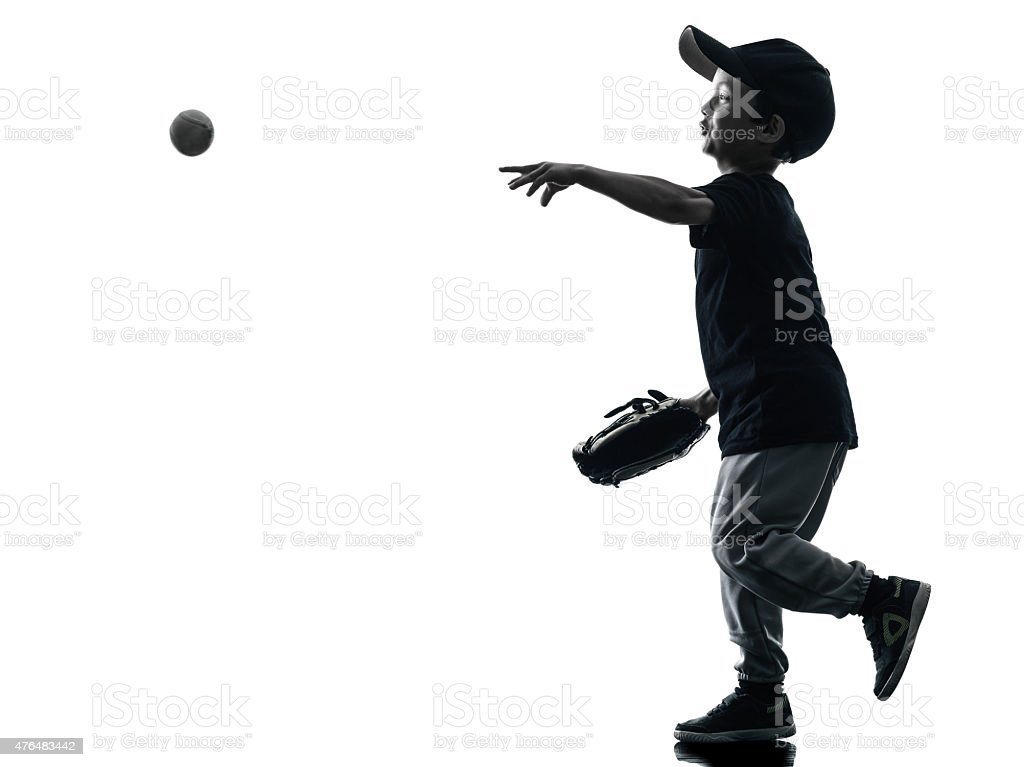 child playing softball players silhouette isolated stock photo