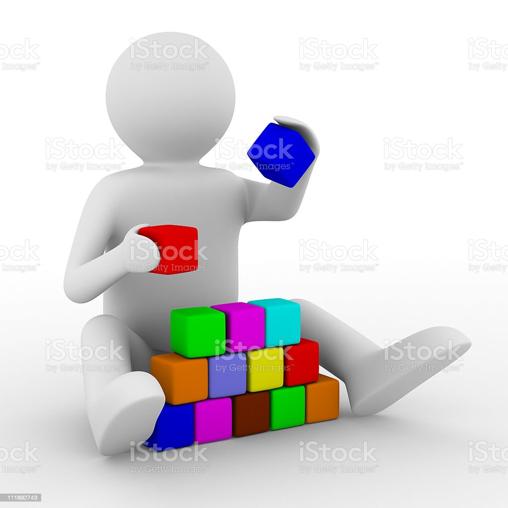 child plays cubes on white. Isolated 3D image royalty-free stock photo