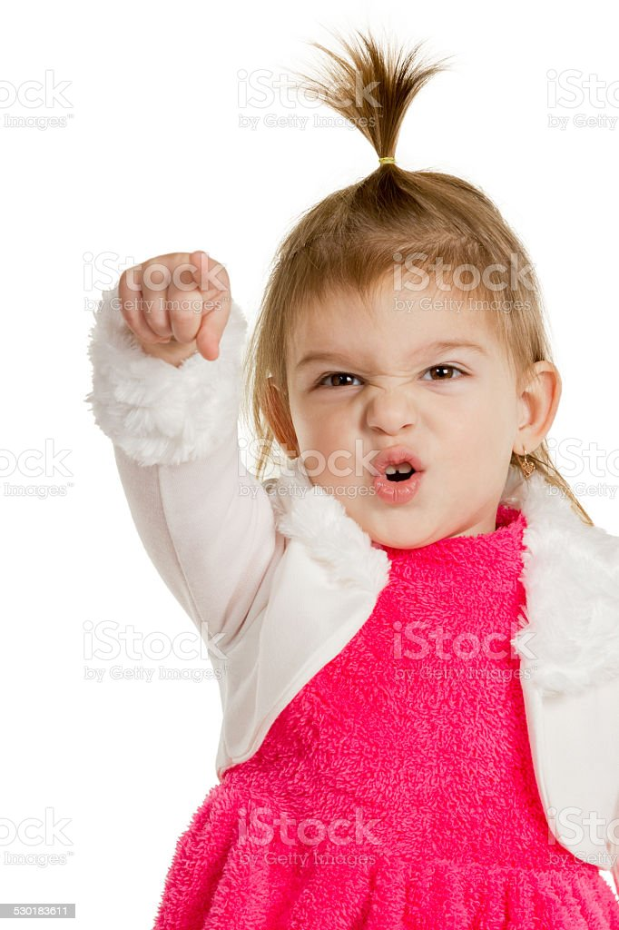 Child pointing finger hand forward closup stock photo