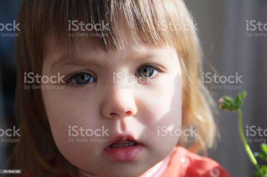 Child portrait closeup stock photo