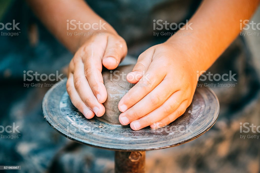 Child Potter And Clay Craft stock photo