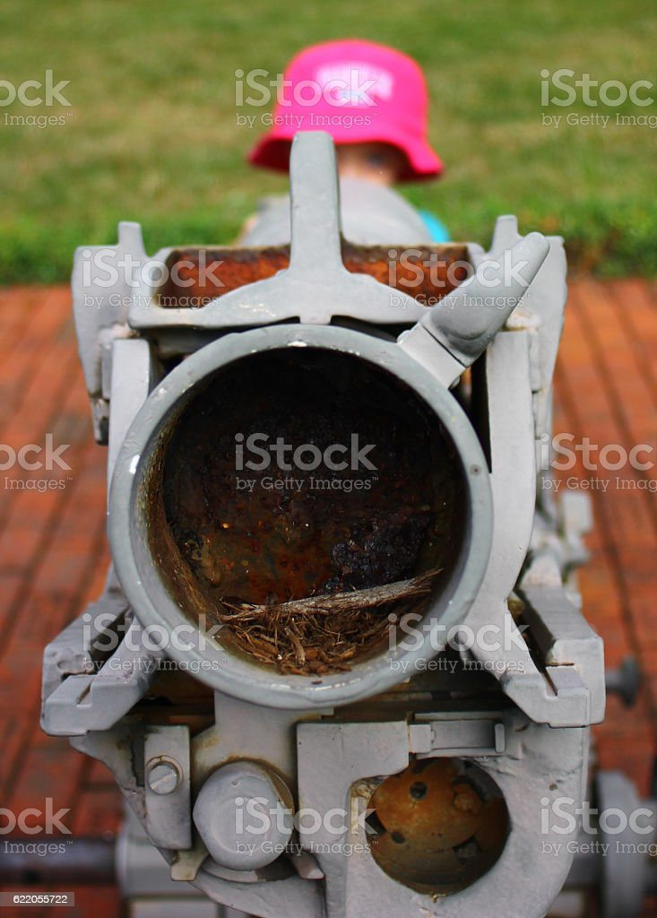 Child Pretending to Shoot Cannon royalty-free stock photo