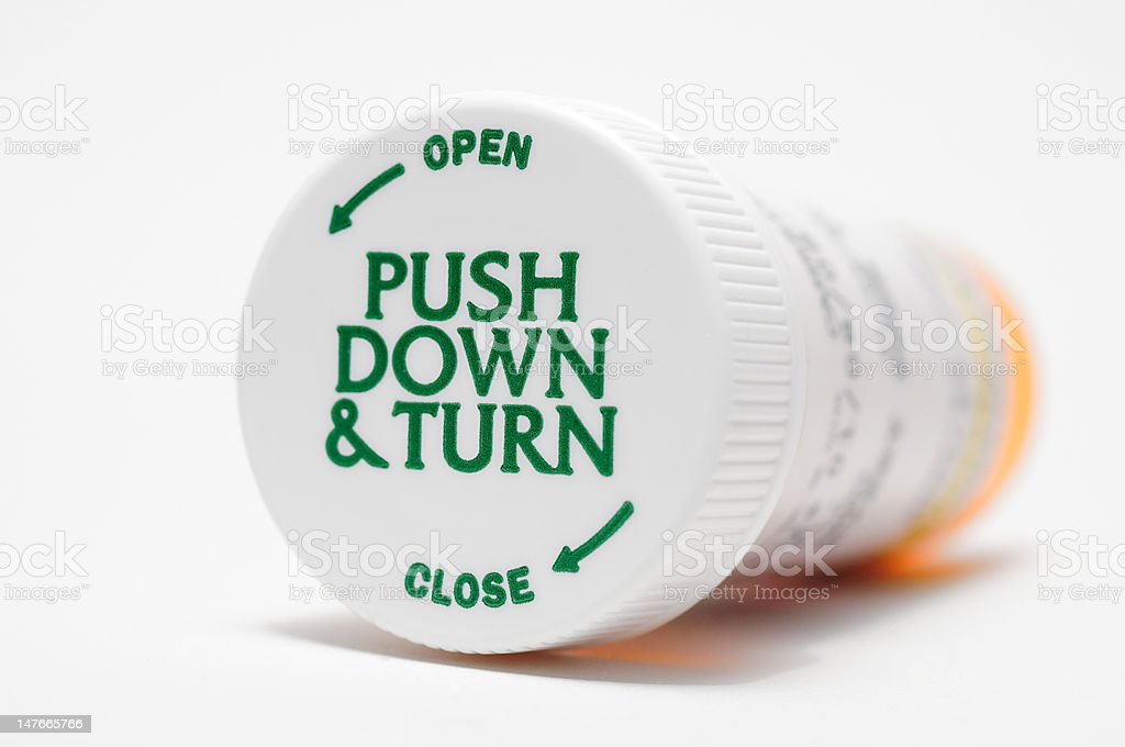 Child Proof Pill Bottle stock photo