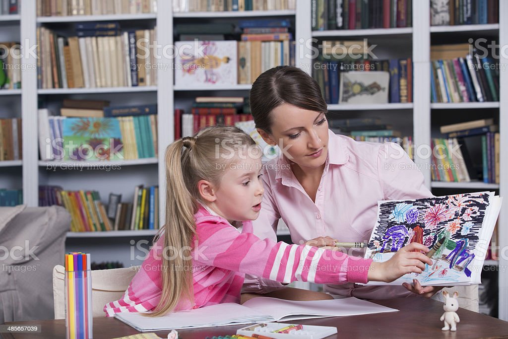 Child psychologist at work stock photo