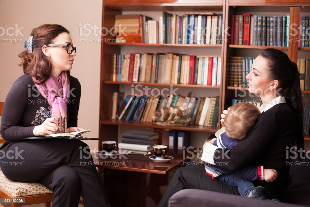 child psychologist the mother with child stock photo