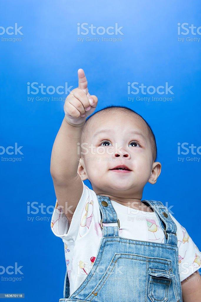 Child raises up forefinger royalty-free stock photo