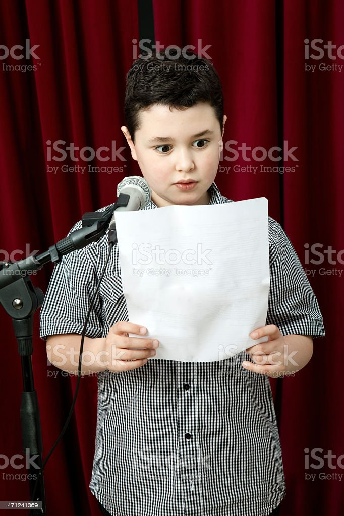 Child reading a speech royalty-free stock photo
