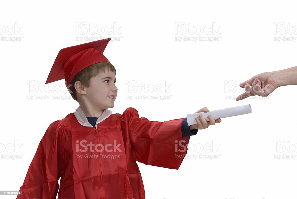 Child Receiving His Diploma royalty-free stock photo