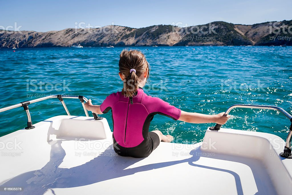 Child Relax on Boat stock photo