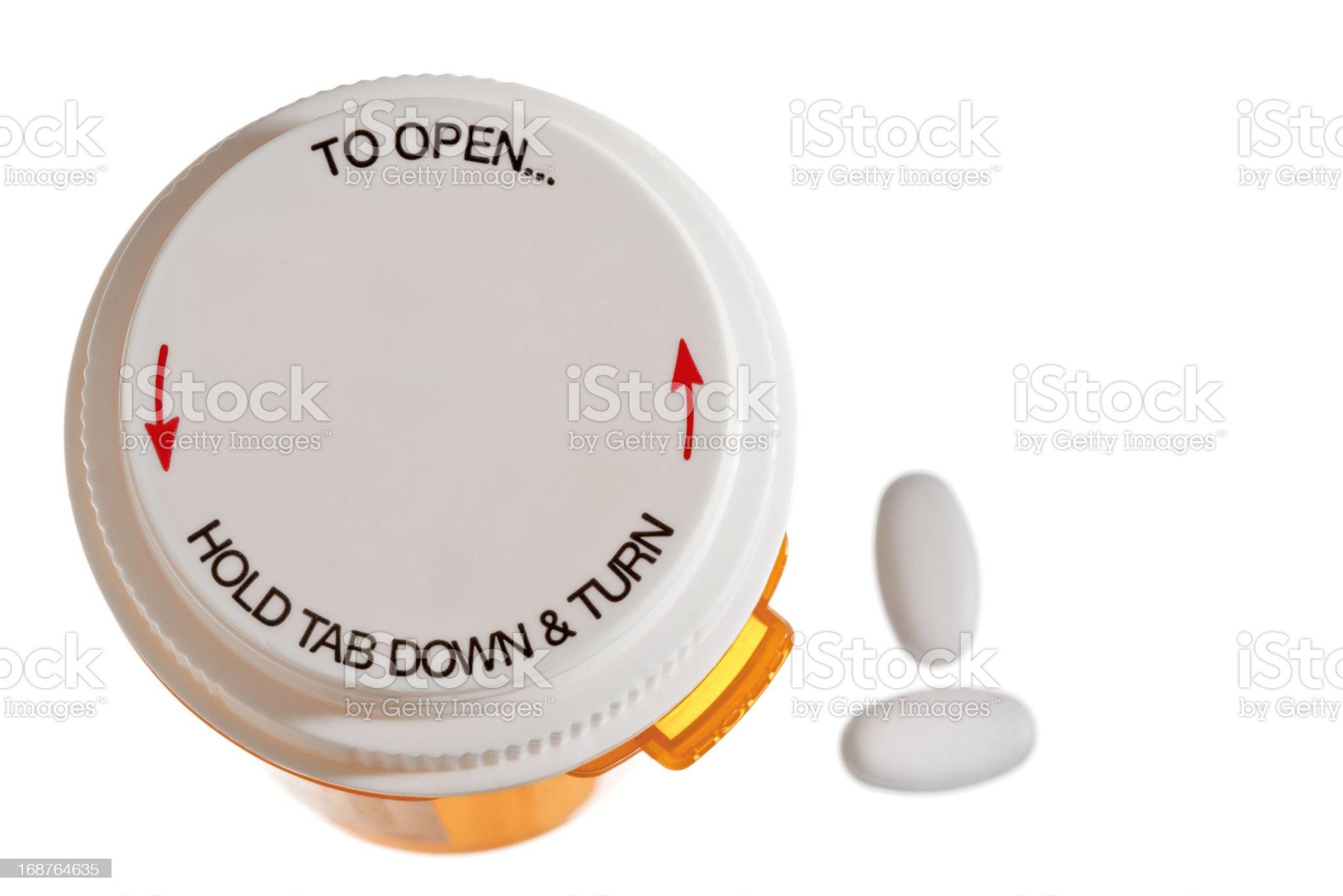 Child Resistant Cap On Prescription Medication Bottle royalty-free stock photo