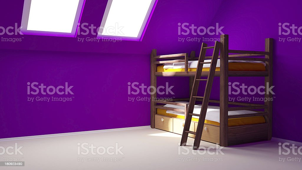 child room on attic royalty-free stock photo