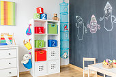 Child room with cabinet table