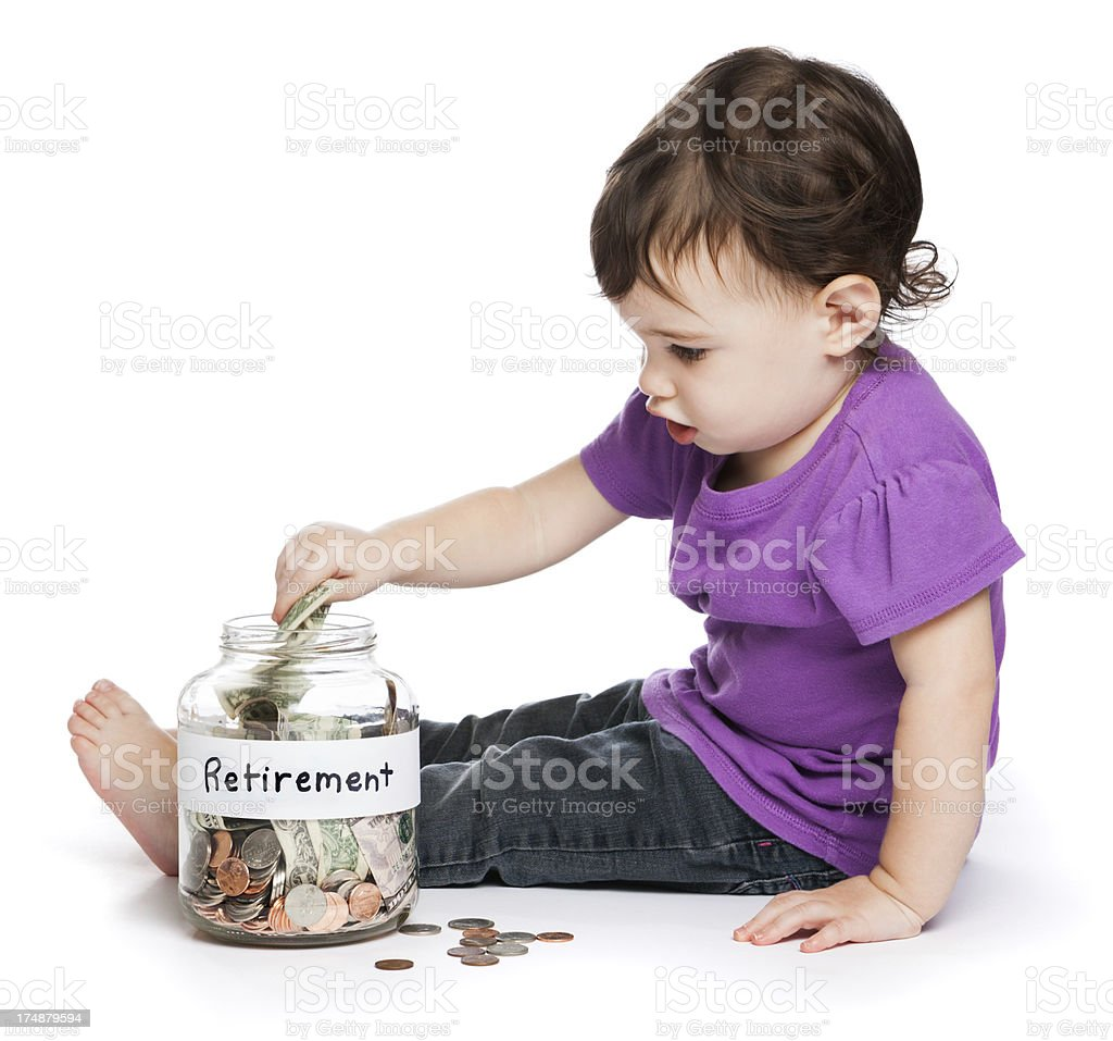 Child saving for retirement stock photo
