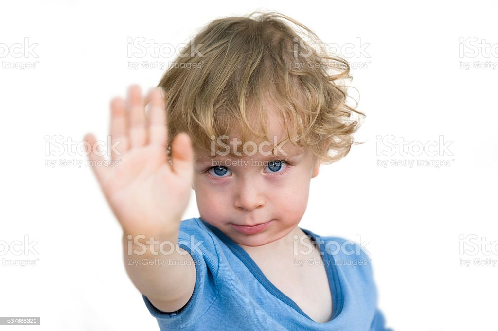 Child saying no stock photo