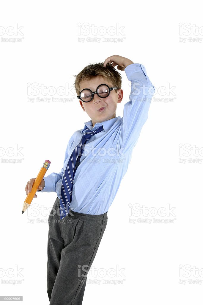 Child scratching his head for an answer royalty-free stock photo