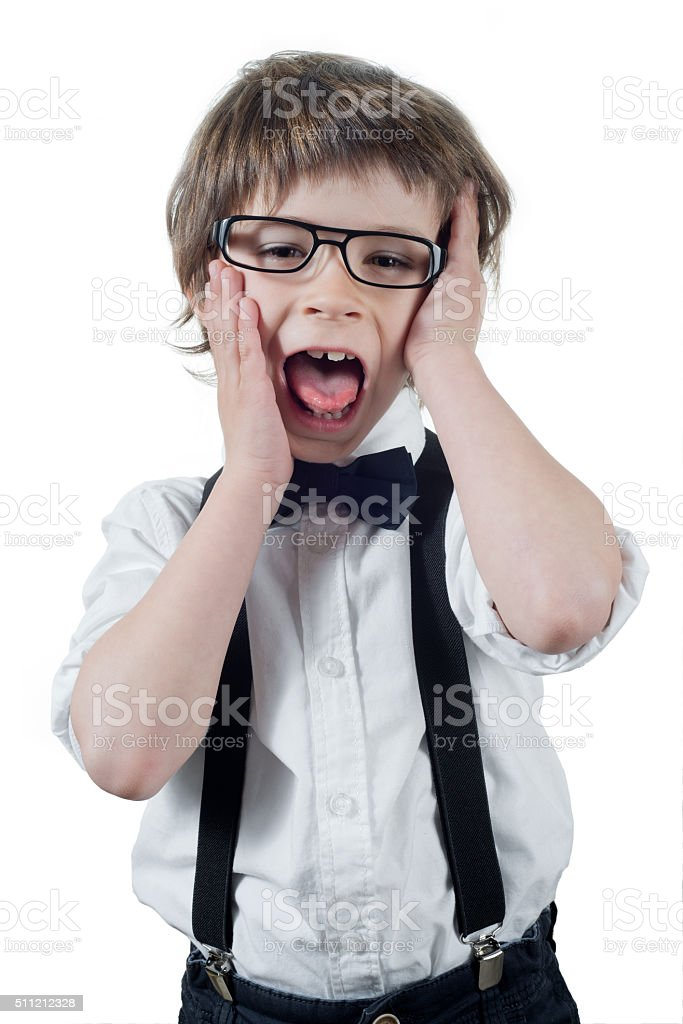 Child shouts isolated stock photo
