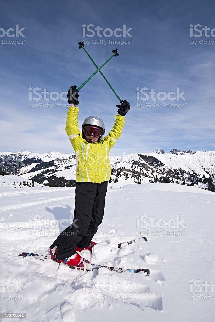 Child skiing stock photo