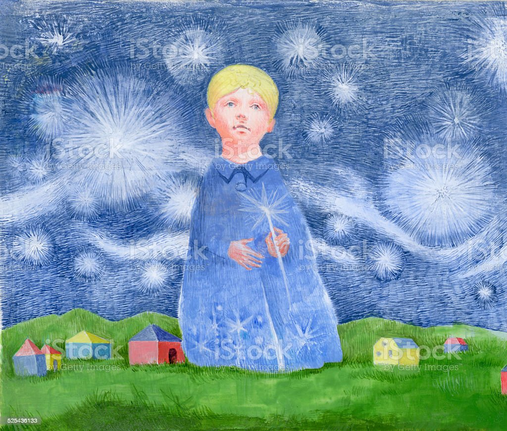 Child standing in the night sky stock photo