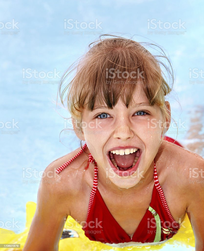 Child swimming on inflatable ring . royalty-free stock photo