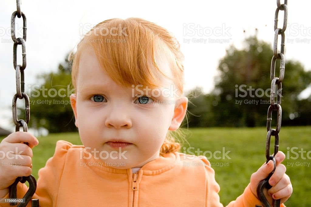 Child Swinging Portrait stock photo