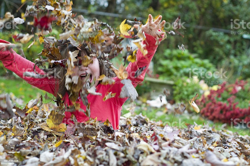 child tosses leaves in the air royalty-free stock photo