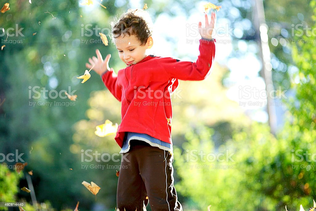 Child tossing autumn leaves into the air stock photo