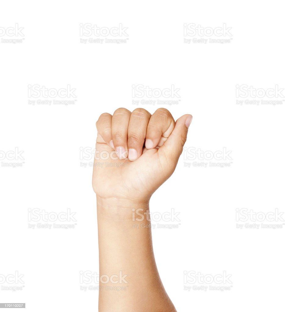 Child Using American Sign Language Letter A stock photo